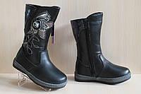 Кожаные зимние сапоги на девочку, теплые черные сапожки на замке тм Tom.m р. 27,29