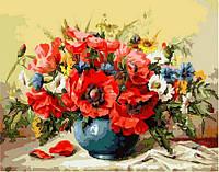 """Раскраска по номерам """"Маки с полевыми цветами"""" худ. М Гаусс (VP294) Турбо 40х50 см"""