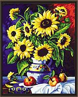 """Раскраска по цифрам """"Подсолнухи в вазе с яблоками"""" (KH088) Идейка 40 х 50 см"""