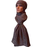 Вязаная женская шапка-носок и шарф спортивного силуэта