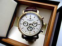 Мужские часы кварцевые PATEK PHILIPPE золото белый циферблат, недорогие наручные часы