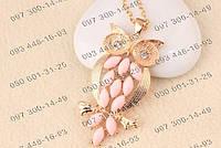 Создать нежный образ Вам поможет Кулон подвеска Сова с розовыми камушками Женское ожерелье Аксессуары