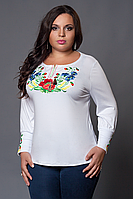 Красивая женская футболка вышиванка с длинным рукавом
