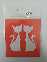 "Трафарет для нанесения рисунка на торт ""Пара котов №11"" размер 7*6,5 (код 04351)"