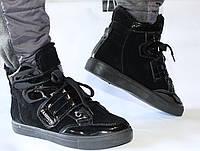 Женские зимние ботинки чёрные спортивные