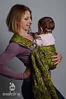 """Слинг с кольцами для новорожденных тм """"Наш слинг"""" Лиана Green жаккард"""