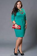 Платье вышиванка зеленое большой размер