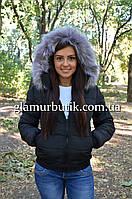 Демисезонная женская куртка Memory со съёмным капюшоном на меху чёрная