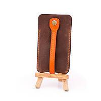 Ключница кожаная кольцо коричневая с оранжевым хлястиком (ручная работа)