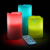 Электронные свечи меняющие цвет с пультом управления набор