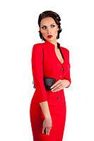 Стильный трикотажный деловой красный костюм 113