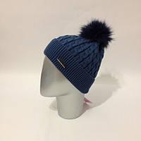 Женская теплая шапка с натуральным бубоном (расцветки)