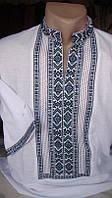 Чоловіча вишита сорочка ручної роботи з синім орнаментом (Мужская вышитая рубашка ручной работы с синим орнаме