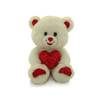 Музыкальная мягкая игрушка Медведь белый блестящий с сердцем 20 см