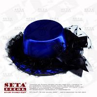 Синяя шляпка мини с бантиком на заколках