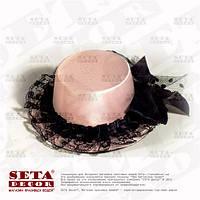 Розовая шляпка мини с бантиком на заколках
