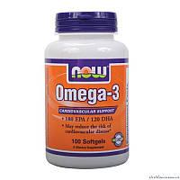 NOW Omega-3 100 гелевых капсул Рыбий жир
