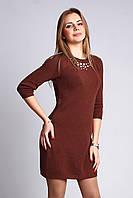 Вязаное платье-туника (Кирпичный)