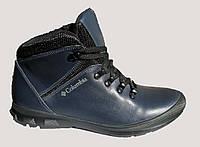 Ботинки  кожаные мужские синего цвета