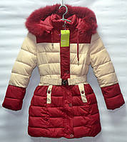 Зимнее пальто для девочки 6-10 лет ZEFEI бордовое