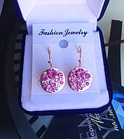 """Серьги """"Мерцание""""  позолота с австрийскими кристаллами, розовый цвет."""