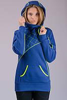Женская трикотажная куртка толстовка с начесом (индиго)