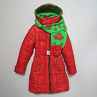 Качественное зимнее пальто/куртка из плащёвки с шарфом для девочки р.134