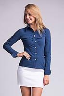 Стильная женская рубашка из бенгалина (Синий).