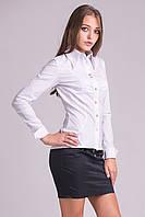 Стильная женская рубашка из бенгалина (Белый).