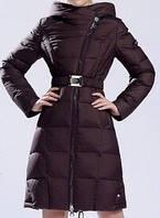 Пуховик пальто с капюшоном на молнии шоколадное