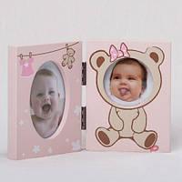 """Детская рамка для фотографии """"Мишка"""" голубая, розовая"""