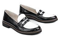 Туфли лакированные кожаные двухцветные (черно-белые)