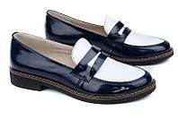 Женские кожаные туфли лакированные двухцветные (сине-белые)