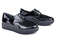 Женские кожаные туфли осенние лакированные черные