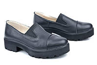 Модные туфли кожаные черные, подошва протектор