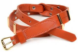 Красивый женский кожаный ремень 466-1 orange оранжевый