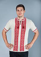 Льнаная мужская вышиванка с коротким рукавом