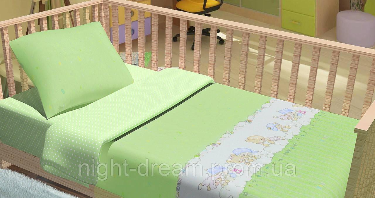 Детское постельное белье в кроватку Kids Dreams  BABY BEAR ЗЕЛЁНЫЙ