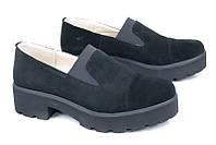 Модные замшевые туфли, подошва протектор, черные
