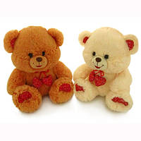 Мягкая игрушка Медведь малый музыкальный с декоративными сердечками 23 см