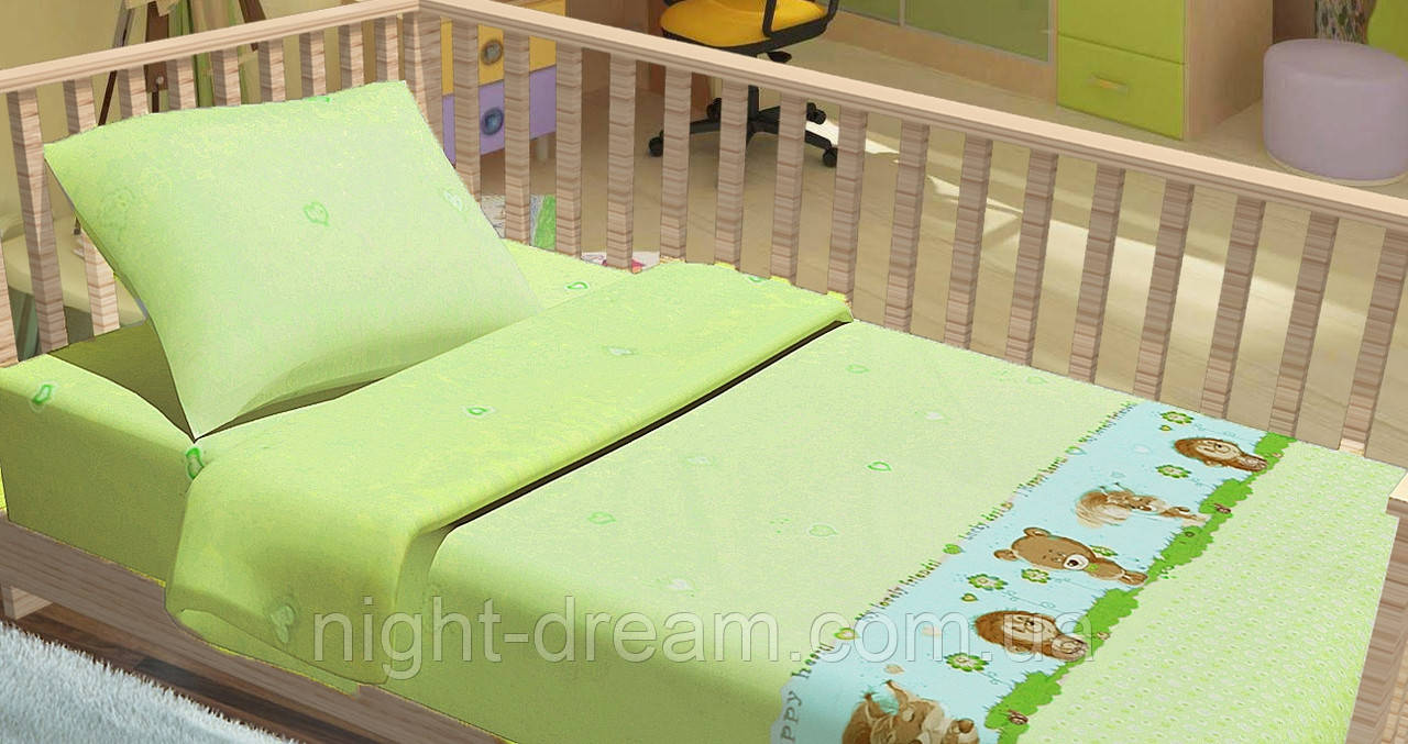 Детское постельное белье в кроватку Kids Dreams ЛІСОВІ ЗВІРЯТА ЗЕЛЁНЫЙ