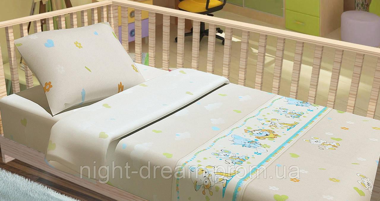 Детское постельное белье в кроватку Kids Dreams  ПОСМІШКА БЕЖЕВЫЙ