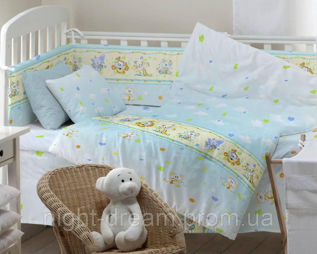 Детское постельное белье в кроватку Kids Dreams ПОСМІШКА ГОЛУБОЙ
