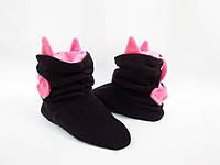 Модные Флисовые Тапочки сапожки=Чертики=комфортно и тепло,черные