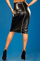 Кожаная юбка карандаш на молнии черная