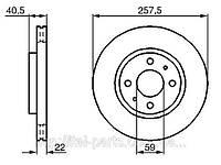Диск тормозной Fiat Doblo D 257. Для автомобилей после 2005 г. выпуска.