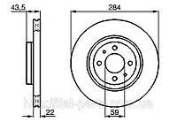 Диск тормозной Fiat Doblo D 284. Для автомобилей после 2005 г. выпуска.