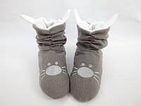 Флисовые модные тапочки-сапожки=Котики=тепло и комфортно,серые