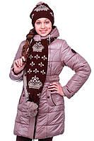 Тёплое зимнее пальто/куртка из плащёвки с шарфом для девочки р.134