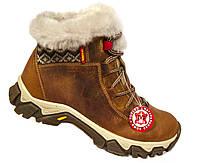 """Зимние женские ботинки """"Mida"""". Коричневые. Натуральная кожа. Натуральный мех"""